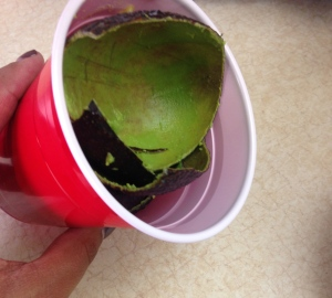 Keeping a trash cup or bowl handy makes clean-up easy and keeps your counter top avocado-free.