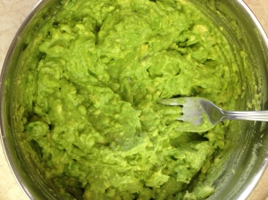 Fully mashed avocado.
