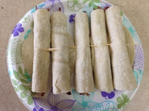 Five little taquitos, all in a row.