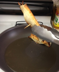 When removing your taquitos from the frying pan, tip them upward so that any excess oil drips off into the pan.